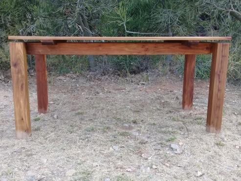 Japanese Inspired Floating Top Solid Wood Kiaat Dining Room Table