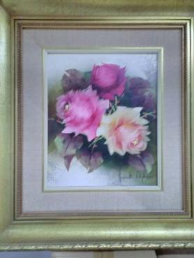 Oil Paintings Framed Still Life Roses Set Of Three