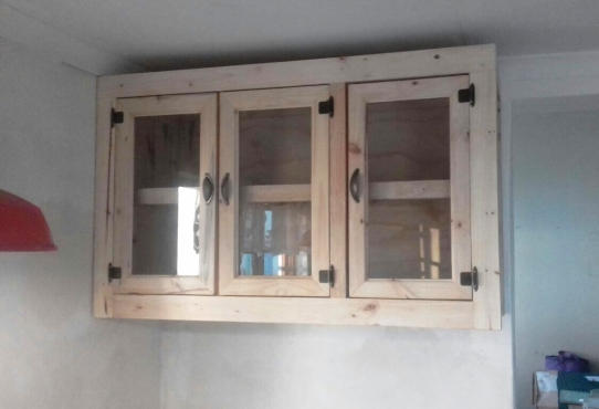 Kitchen Cupboard Wall Unit Farmhouse Series 1300 Glass Doors Raw