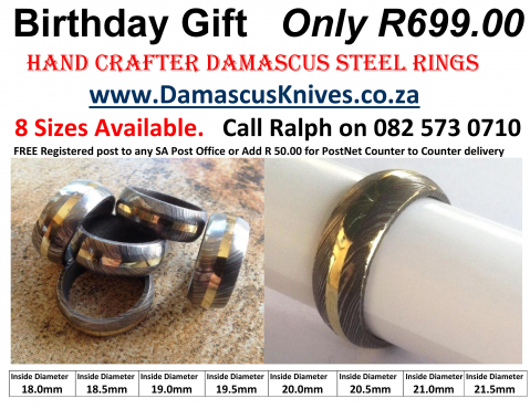 Damascus original Handmade Ring. Ideal Birthday GIFT. Only R 699.00