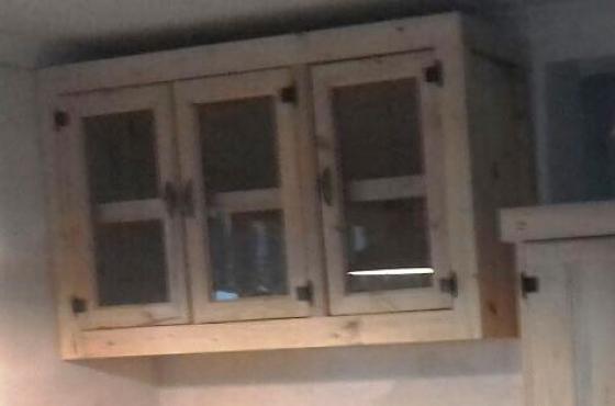 Kitchen Cupboard Wall unit Farmhouse series 1300 Glass doors Raw