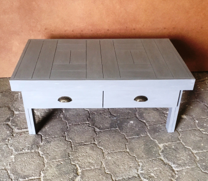 Coffee table Farmhouse series 1200 with drawers - Grey wash