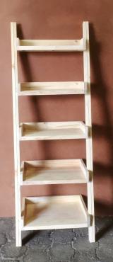 Bookshelf leaning ladder Cottage series 1900 Five tier - solid shelves