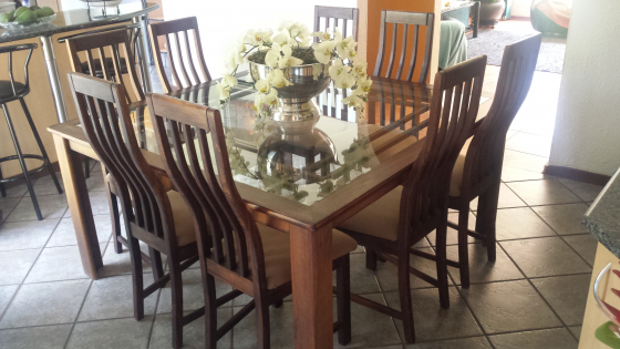 8 Seater Wooden Glass Diningroom Table Chairs For Sale Junk Mail