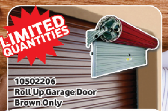 Roll up garage door - brown only - limited quantities