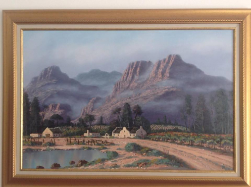 Oil Paintings of a Wine Farm Scene on excellent frame in Western Cape By WP Grobbelaar
