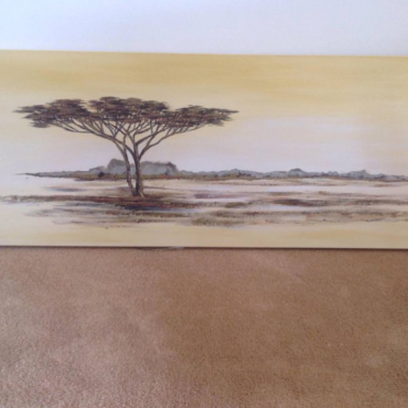 A Jacqueline Bekker painting of trees in the Senna Valley in Mozambique. Collectors Piece