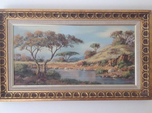 An oil painting on hardboard by WP Grobbelaar.  What offers? was 8000