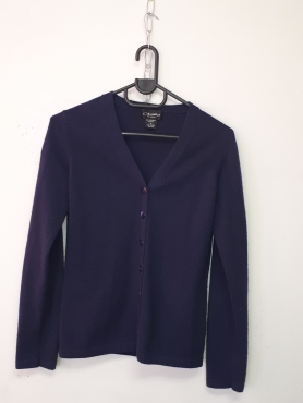 Cashmere Navy Cardigan with buttons - Medium