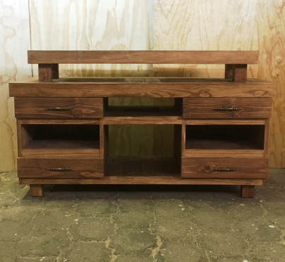 TV display unit Farmhouse series 1500 with elevated top - Stained