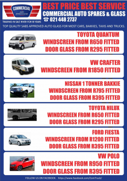 Commercial Auto Spares & Glass. Cape Town's Number 1 Auto Glass Fitment Center