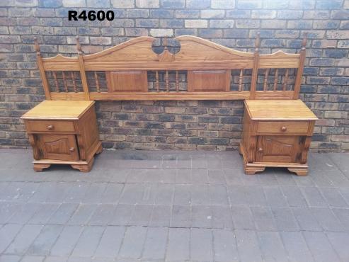 Solid Oak Headboard 2 Bedside Chest Dressing Table