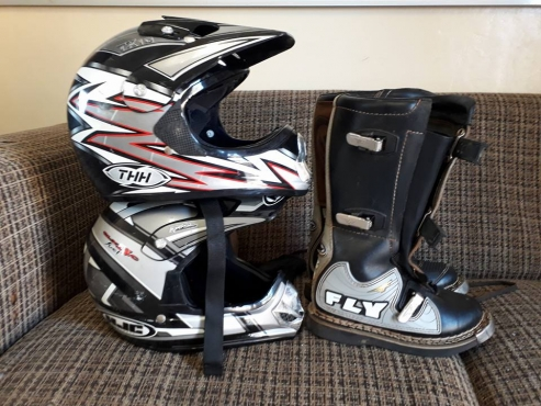 2 off-road helmets and size 5 Boots for sale