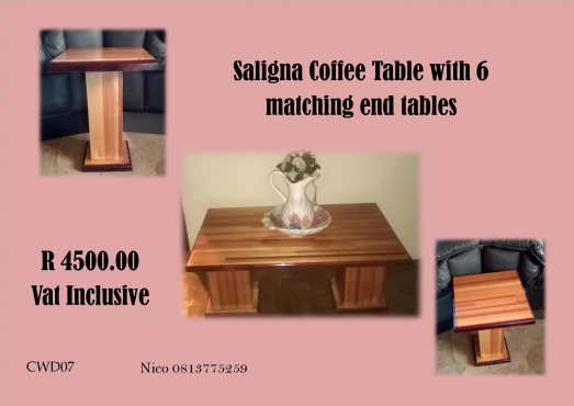 Saligna Coffee table with 6 side tables