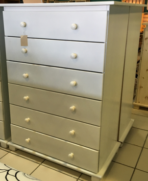 Pine 6 Drawer Chest of Drawers - White