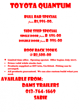 Bull bars and Bakkie rails on sale