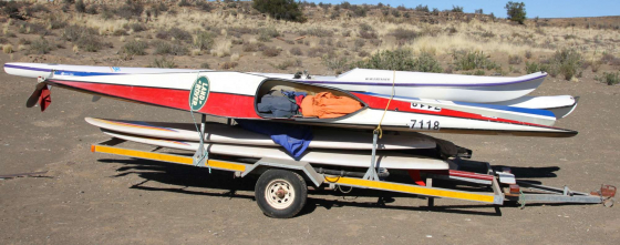 Canoe's, sea kayaks and windsurfers with trailer for sale