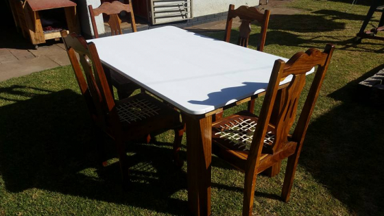 Emboyà chairs and meranti table dining room set for sale