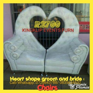 Heart shape groom and bride chairs