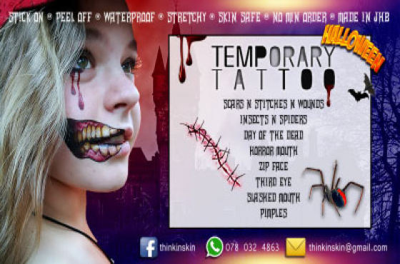 Temporary Tattoos - Skin Safe - Stick on Peel off