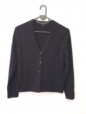 Cashmere Black Cardigan with buttons - Thick weight | Junk Mail
