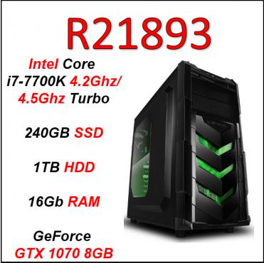 Custom Built Pro Gaming i7-7700K, 240GB SSD + 1TB HDD, 16Gb RAM (GTX 1070 8GB, Z270 Mobo) PC