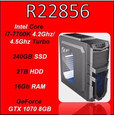 Custom Built Pro Gaming i7-7700K, 240GB SSD + 2TB HDD, 16Gb RAM (GTX 1070 8GB, Z270 Mobo) PC