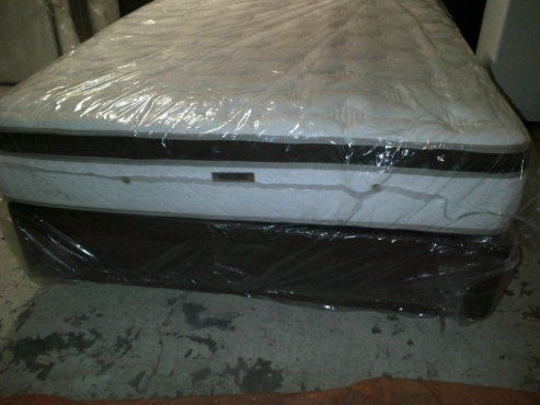 New Queen Restonic Eurotop Bed Set