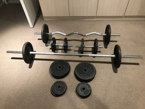 Great condition complete kg home gym weight set junk mail