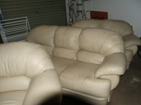 Genuine Leather Lounge Suite for Sale - Cream,  Grafton Everest