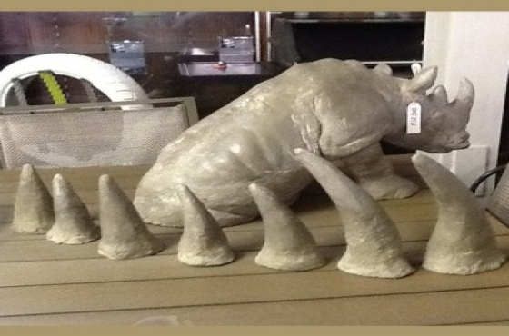 Clay Rhino Sculpture