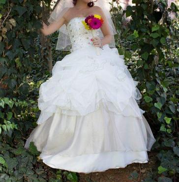 Beautiful white & gold wedding dress.