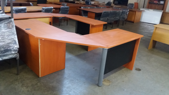 Mahogany Wood Office Desk + Credenza