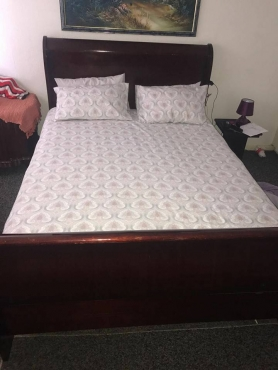 Sleigh bed including bamboo queen matress