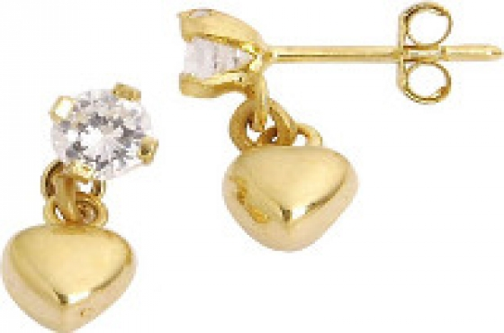 9ct Solid Yellow Gold Heart and Cubic Zirconia Drop Earrings