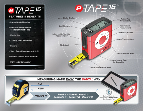 eTape - High Quality Tape Measure (w/ bluetooth)