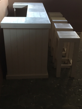 Bar Counter Farmhouse series 2000 and stool Combo (Stained Antique white)