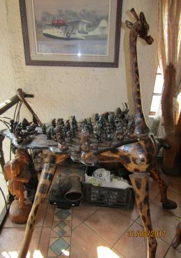 Hand Carved Giraffe Chess Board