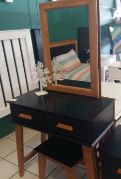 Zia 2 Drawer Dressing Table - Black & Oregon