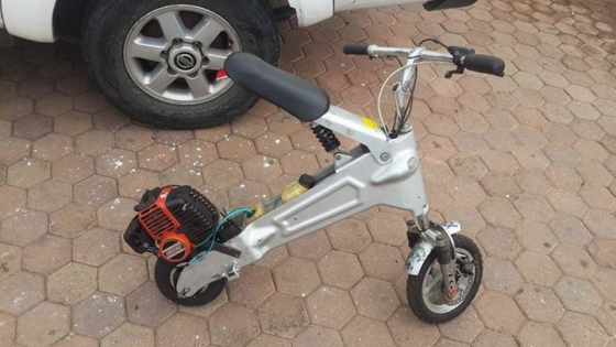 Kiddies scooter with petrol engine