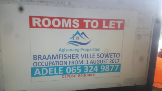 From 30 June 2018- Rooms available in Braamfisher Phase 2