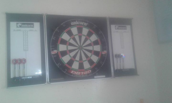 Dartboard in Cabinet