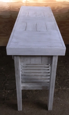Dresser Farmhouse series 1500 slatted shelf and 3 drawers - White washed distressed