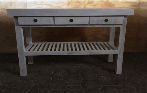 Dresser Farmhouse series 1500 slatted shelf and 3 drawers White washed distressed