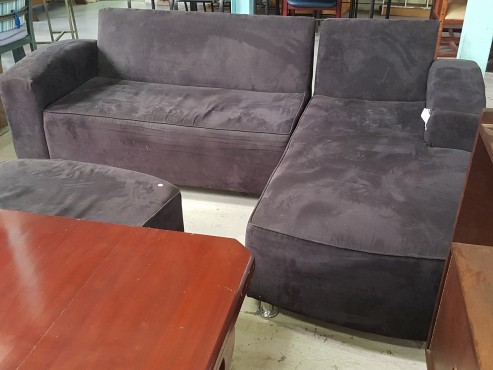 Black suede L-shape couch