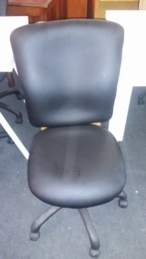 black pleather office chair