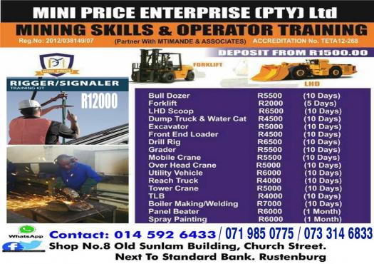 Full Boilermaking training school 0719850775, Excavator 777 dump truck Front end loader witbank