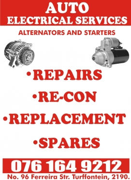 Alternators and starters sales, repairs and general wiring.