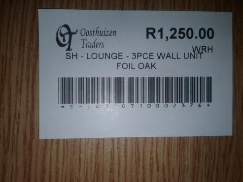 3 Piece Wall Unit Foil Oak
