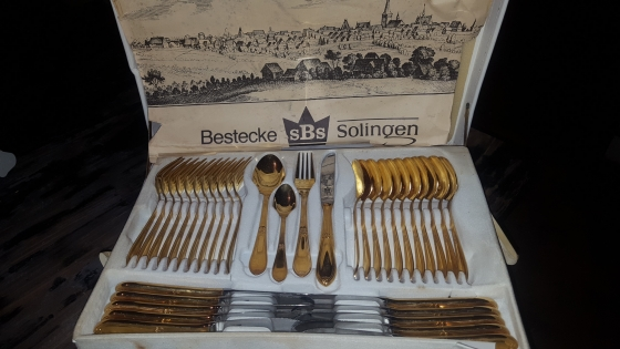 Cutlery set 76 piece Bestecke Solingen 24 karat gold never used
